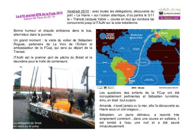3 e la Fcup 201 journal SFB d Le p'tit s du 26 /10 Edition de Pari  Samedi 26/10 : matinée libre. Nous allons en métro vis...