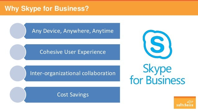 Why Skype for Business? Any Device, Anywhere, Anytime Cohesive User Experience Inter-organizational collaboration Cost Sav...