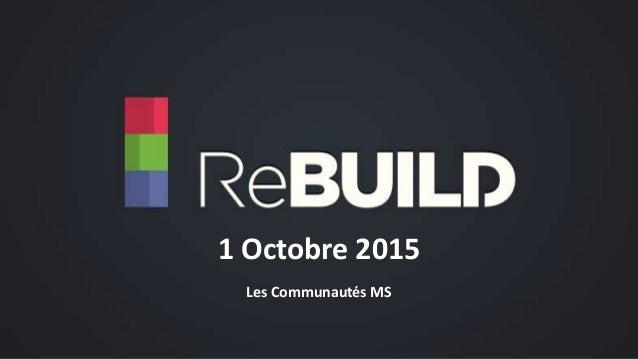 Les Communautés MS 1 Octobre 2015