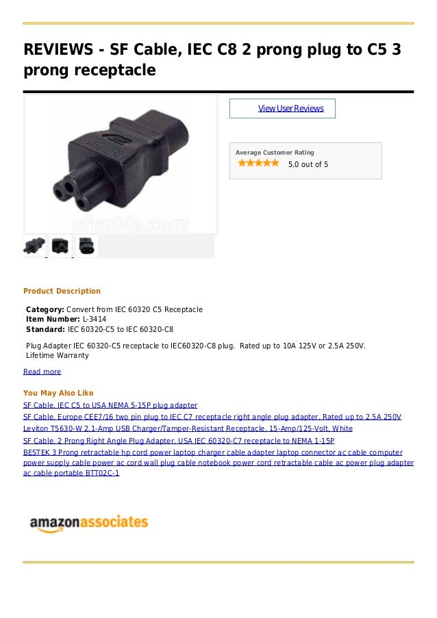 2 Prong Right Angle AC power Plug adapter IEC C7 receptacle to NEMA 1-15P US