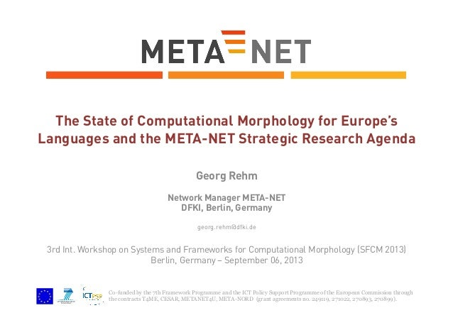The State of Computational Morphology for Europe's Languages and the META-NET Strategic Research Agenda Georg Rehm Network...