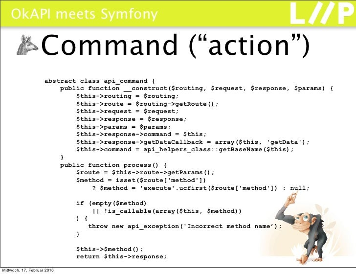 """OkAPI meets Symfony                     Command (""""action"""")                      abstract class api_command {              ..."""
