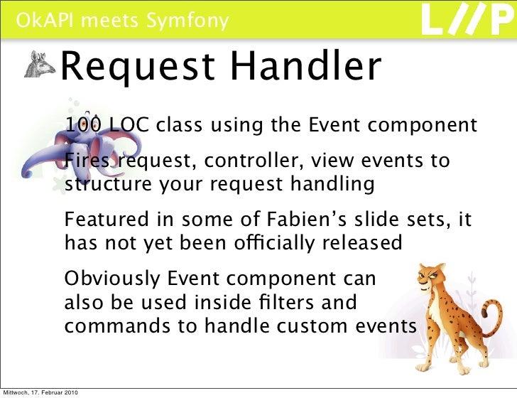 OkAPI meets Symfony                     Request Handler                      100 LOC class using the Event component      ...