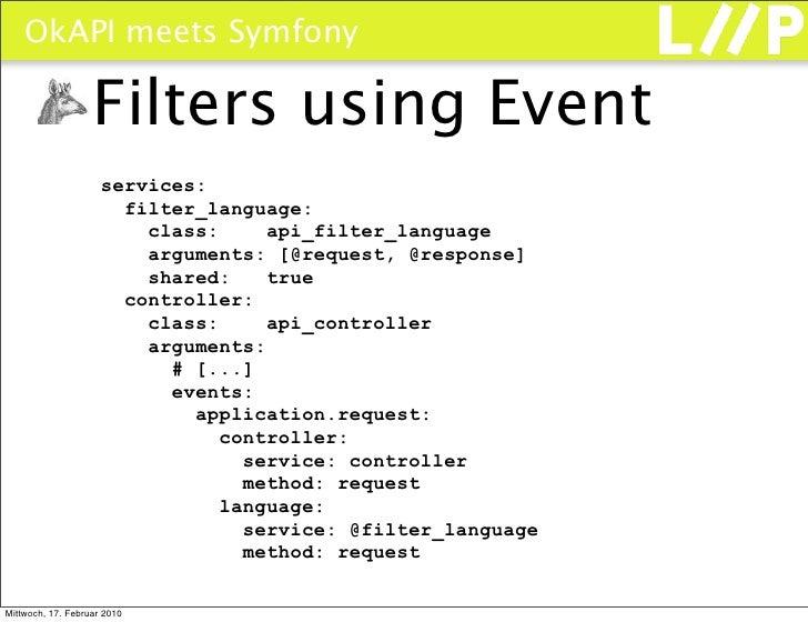 OkAPI meets Symfony                     Filters using Event                      services:                        filter_l...