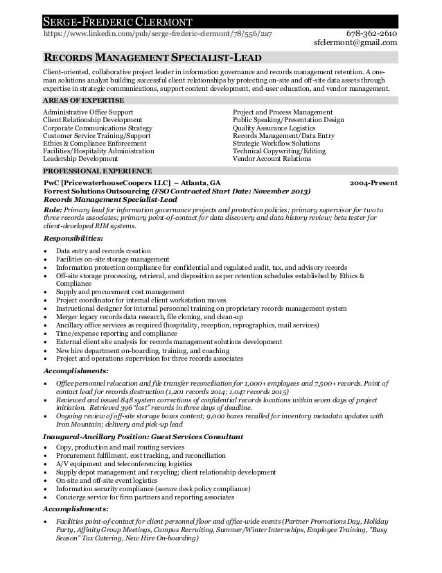 records management employment resume for serge f clermont