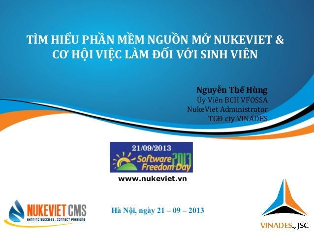 TÌM HIỂU PHẦN MỀM NGUỒN MỞ NUKEVIET & CƠ HỘI VIỆC LÀM ĐỐI VỚI SINH VIÊN Hà Nội, ngày 21 – 09 – 2013 www.nukeviet.vn Nguyễn...