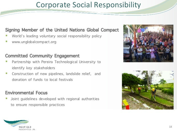 Corporate Social Responsibility Signing Member of the United Nations Global Compact§ World's leading voluntary soc...