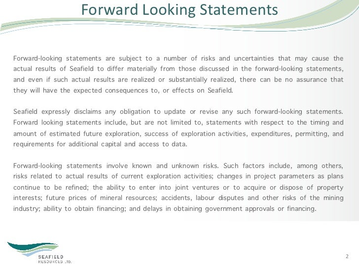 Forward Looking Statements Forward-looking statements are subject to a number of risks and uncertainties that may ca...