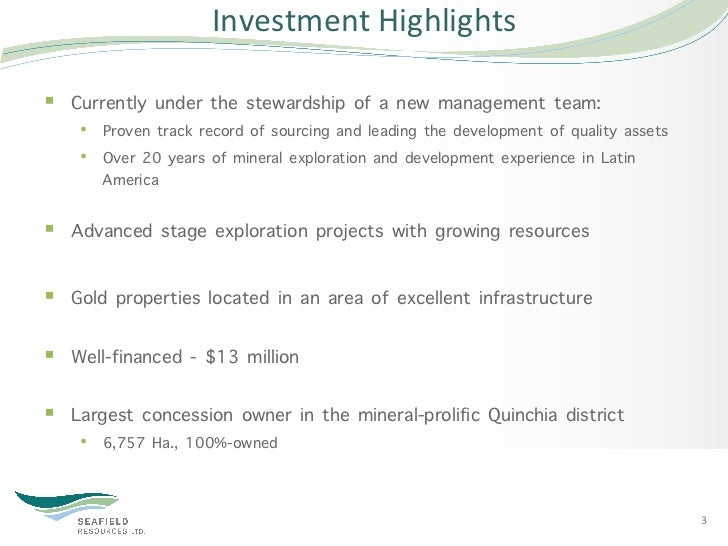Investment Highlights § Currently under the stewardship of a new management team:    • Proven track record of sourc...