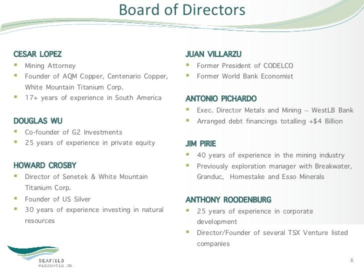 Board of Directors CESAR LOPEZ                                       JUAN VILLARZU§ Mining Attorney               ...