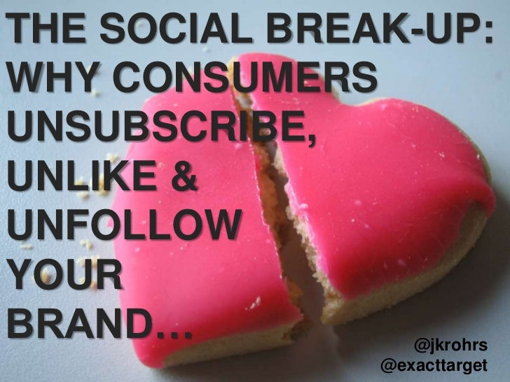 THE SOCIAL BREAK-UP:<br />WHY CONSUMERS UNSUBSCRIBE, <br />UNLIKE & <br />UNFOLLOW  <br />YOUR <br />BRAND…<br />@jkrohrs<...