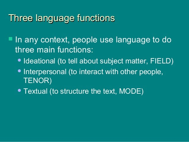 Three language functionsThree language functions  In any context, people use language to do three main functions: Ideati...