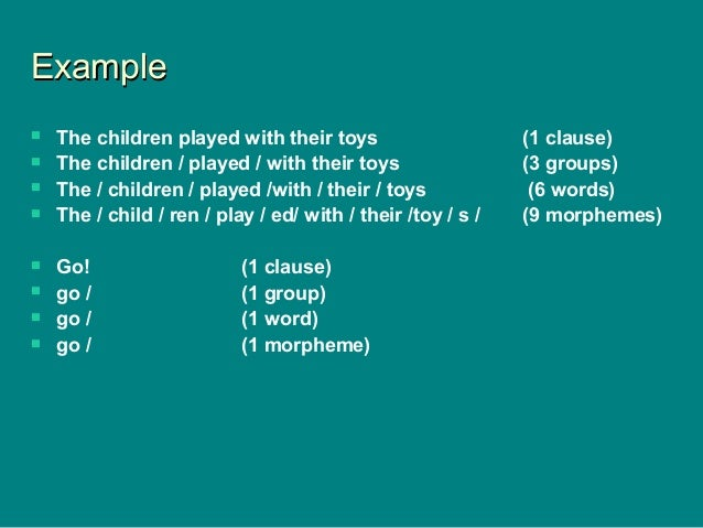ExampleExample  The children played with their toys (1 clause)  The children / played / with their toys (3 groups)  The...