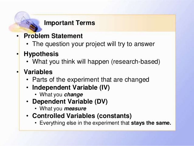 variables in a science project