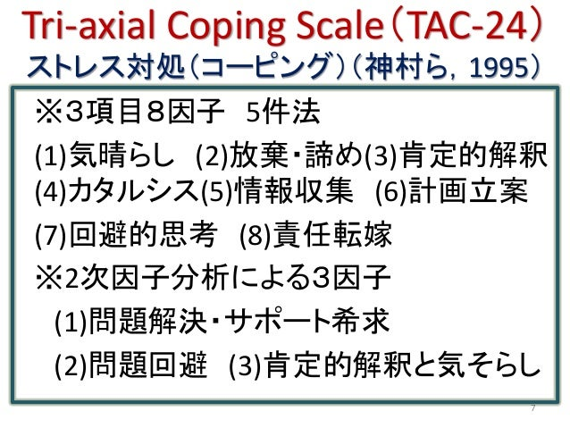 Tri-axial Coping Scale(TAC-24) ストレス対処(コーピング)(神村ら,1995) ※3項目8因子 5件法 (1)気晴らし (2)放棄・諦め(3)肯定的解釈 (4)カタルシス(5)情報収集 (6)計画立案 (7)回避的...