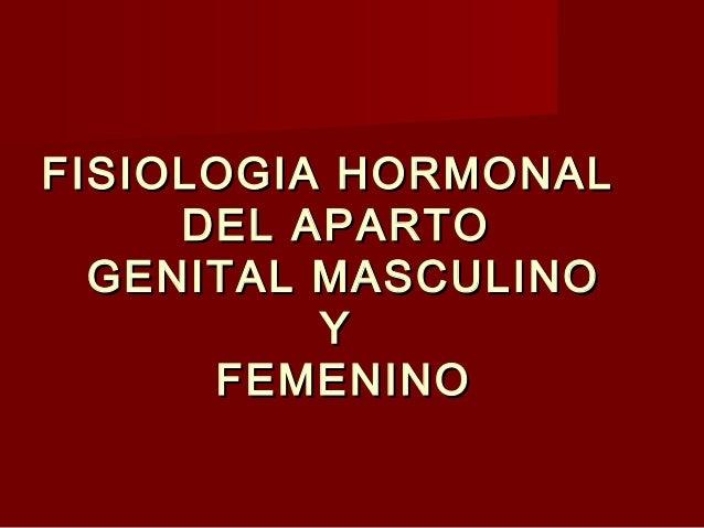 FISIOLOGIA HORMONALFISIOLOGIA HORMONALDEL APARTODEL APARTOGENITAL MASCULINOGENITAL MASCULINOYYFEMENINOFEMENINO