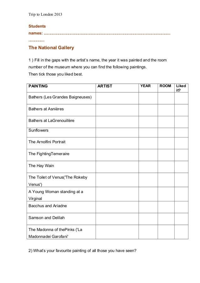 Worksheets Trip Tolondon2013 2
