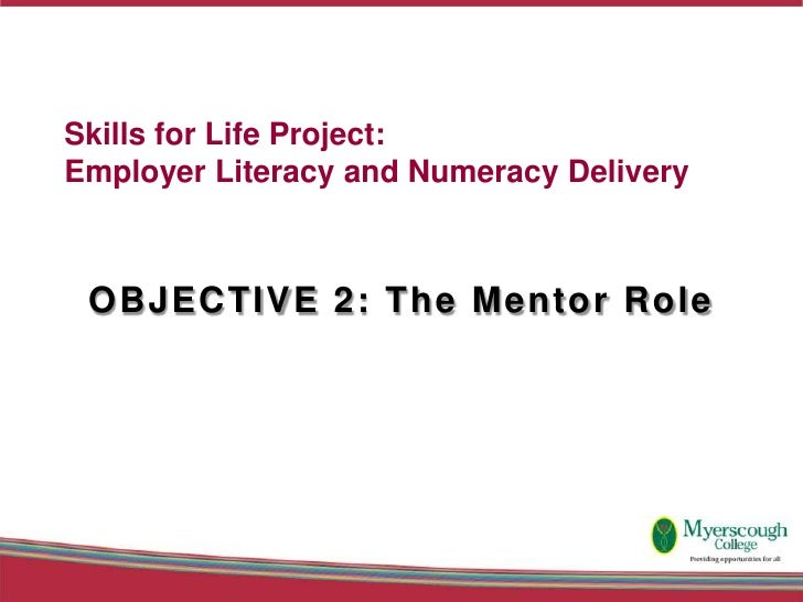 Skills for Life Project: Employer Literacy and Numeracy Delivery     OBJECTIVE 2: The Mentor Role
