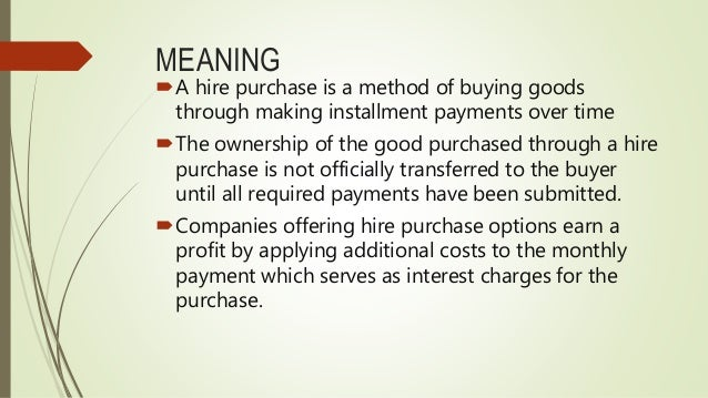 Essay on hire purchase system