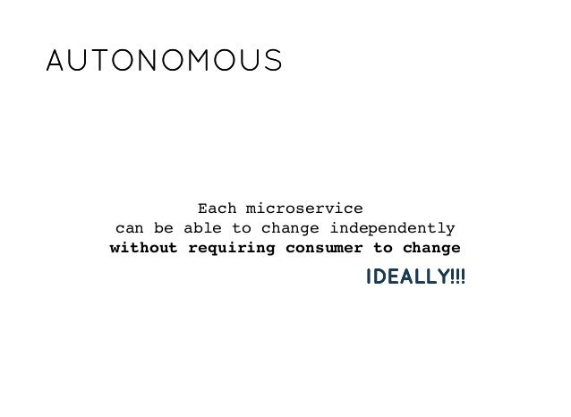 AUTONOMOUSAUTONOMOUS Each microservice can be able to change independently without requiring consumer to change IDEALLY!!!...
