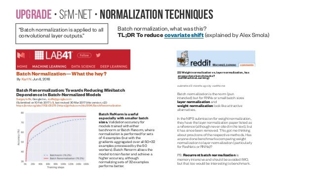 Upgrade • SfM-NeT • Normalization techniques Batch normalization, what was this? TL;DR To reduce covariate shift (explaine...