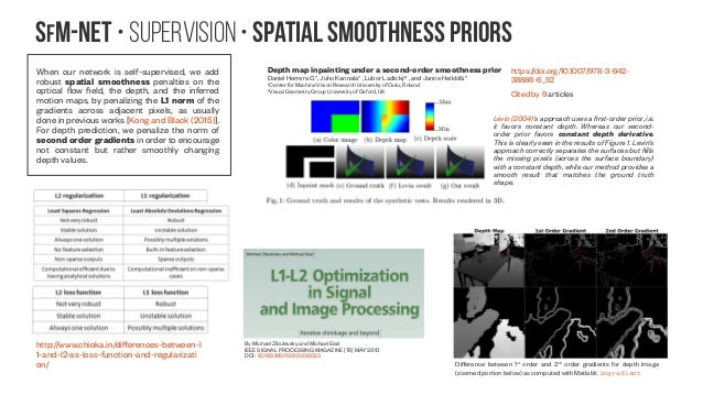 SfM-NeT • Supervision • Spatial smoothness priors When our network is self-supervised, we add robust spatial smoothness pe...