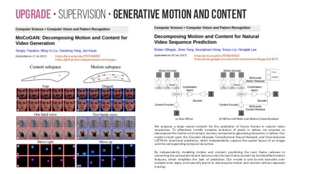 Upgrade • Supervision • generative motion and content https://arxiv.org/abs/1707.04993 https://github.com/sergeytulyakov/m...