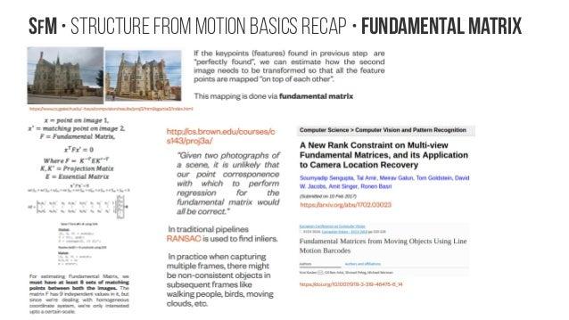 SfM • Structure from Motion Basics recap • Fundamental Matrix