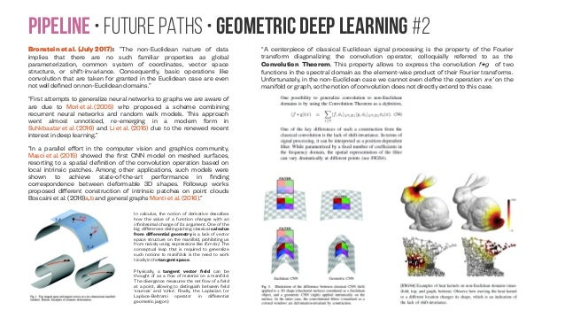 """Pipeline • Future paths • Geometric Deep Learning #2 Bronstein et al. (July 2017): """"The non-Euclidean nature of data impli..."""