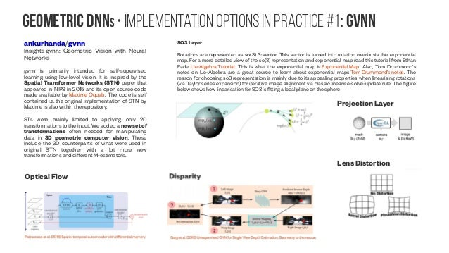 Geometric DNNs • implementation options in practice #1: GVNN ankurhanda/gvnn Insights gvnn: Geometric Vision with Neural N...