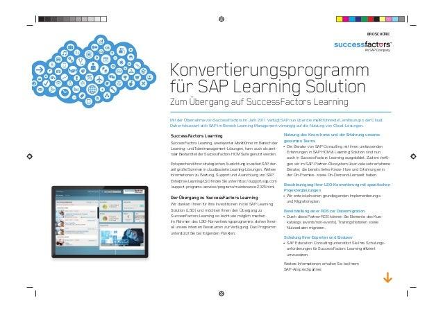 Konvertierungsprogramm für SAP Learning Solution Zum Übergang auf SuccessFactors Learning Mit der Übernahme von SuccessFac...