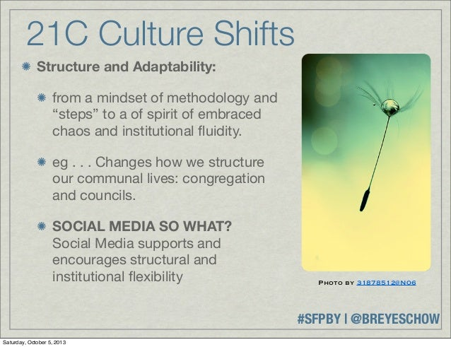 """#SFPBY   @BREYESCHOW 21C Culture Shifts Structure and Adaptability: from a mindset of methodology and """"steps"""" to a of spir..."""