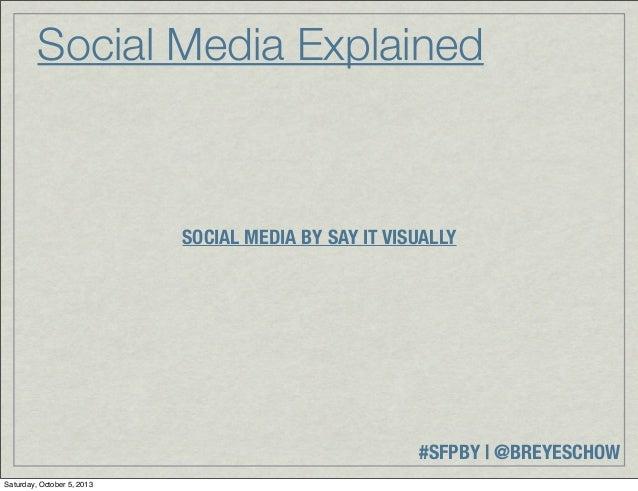#SFPBY   @BREYESCHOW Social Media Explained SOCIAL MEDIA BY SAY IT VISUALLY Saturday, October 5, 2013