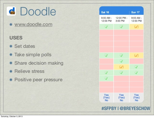 #SFPBY   @BREYESCHOW www.doodle.com USES Set dates Take simple polls Share decision making Relieve stress Positive peer pr...