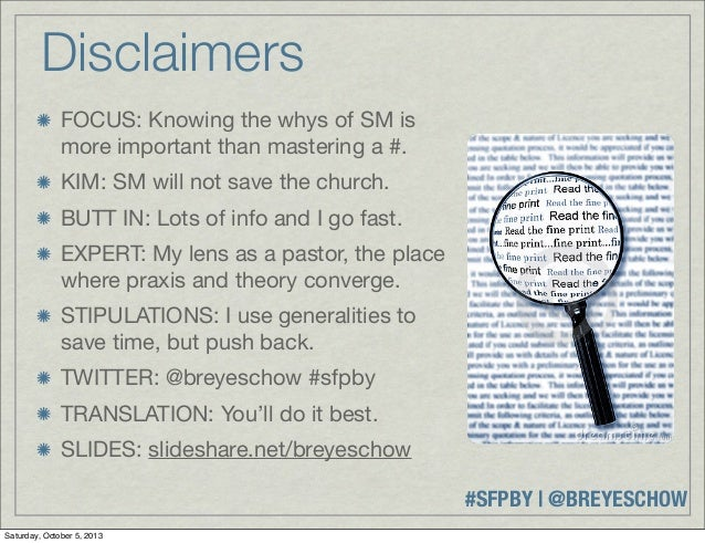 #SFPBY   @BREYESCHOW Disclaimers FOCUS: Knowing the whys of SM is more important than mastering a #. KIM: SM will not save...