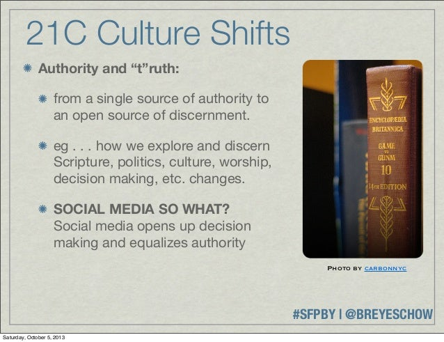 """#SFPBY   @BREYESCHOW 21C Culture Shifts Authority and """"t""""ruth: from a single source of authority to an open source of disc..."""