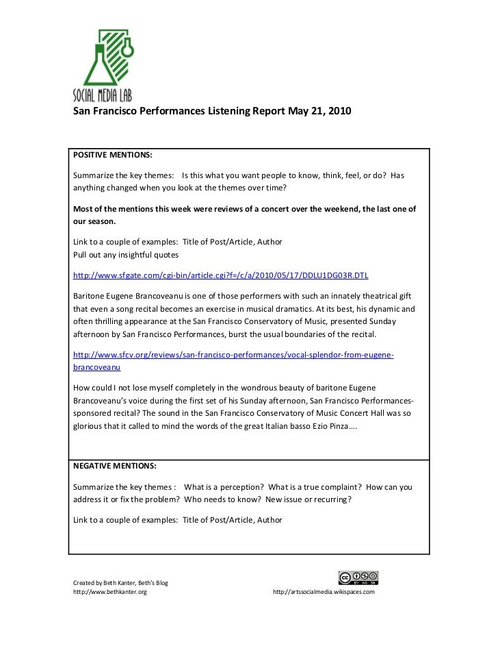 San Francisco Performances Listening Report May 21, 2010   POSITIVE MENTIONS:  Summarize the key themes: Is this what you ...