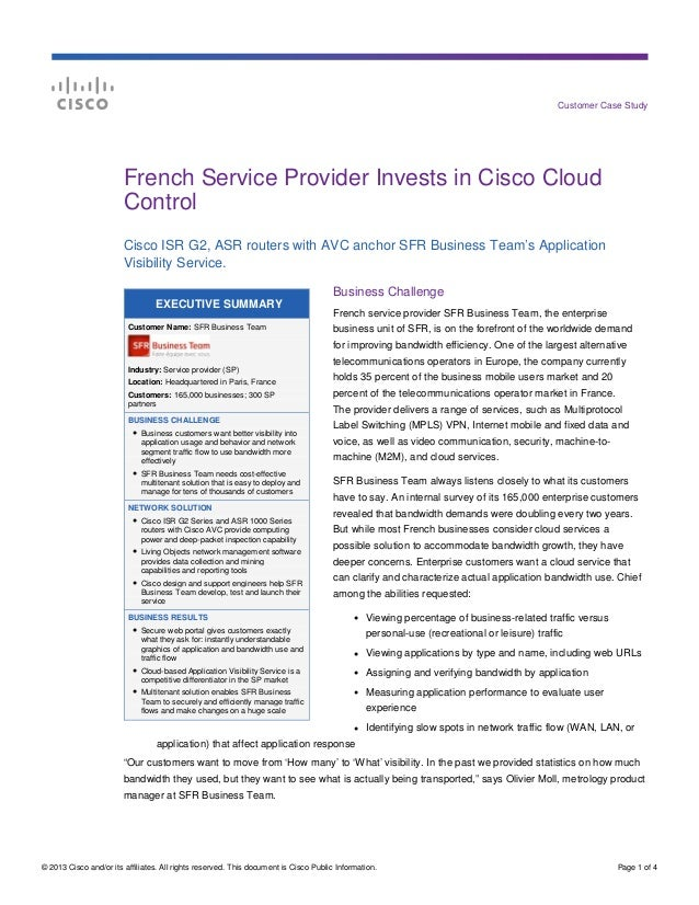 Customer Case Study                        French Service Provider Invests in Cisco Cloud                        Control  ...