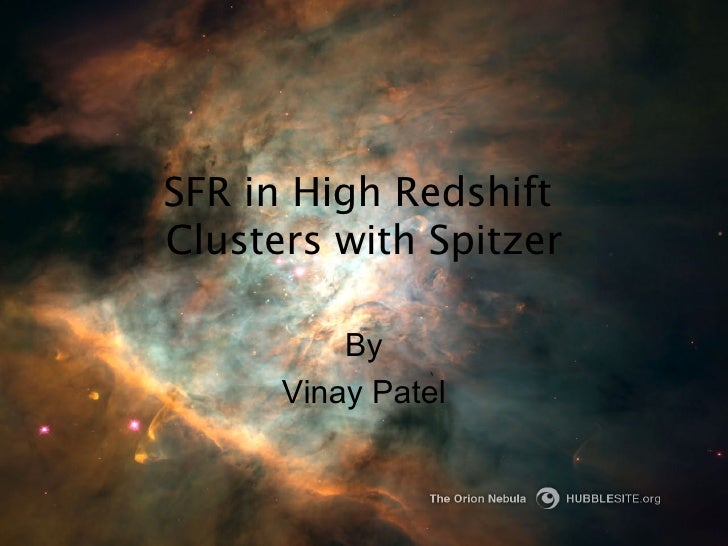 SFR in High Redshift  Clusters with Spitzer By Vinay Patel