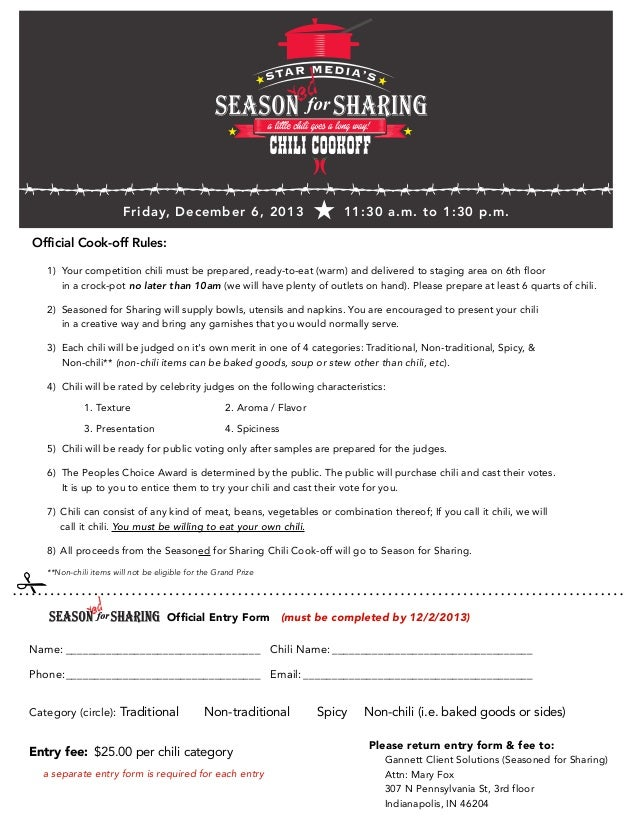 Seasoned for Sharing Chili Cook-Off Entry Form