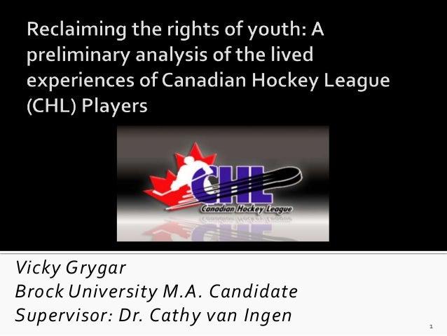 Vicky GrygarBrock University M.A. CandidateSupervisor: Dr. Cathy van Ingen   1