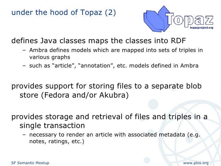 under the hood of Topaz (2) <ul><li>defines Java classes maps the classes into RDF  </li></ul><ul><ul><li>Ambra defines mo...