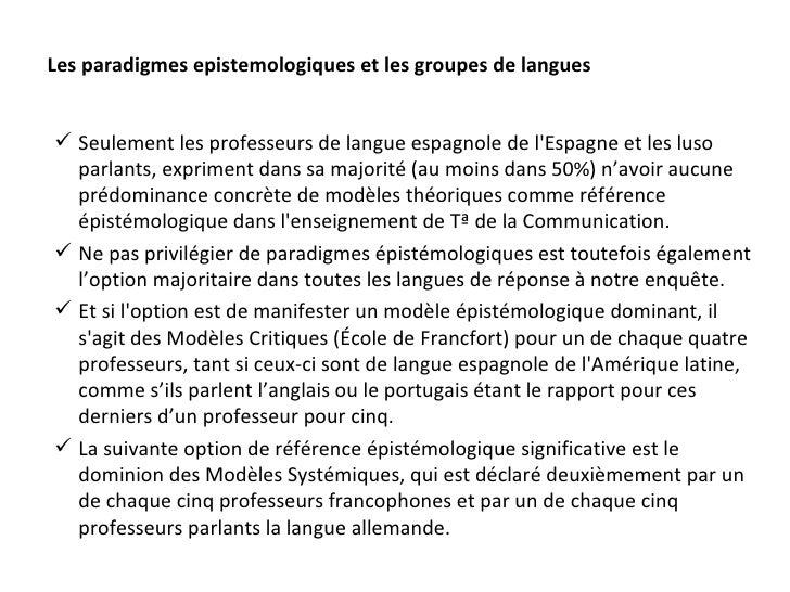 Les paradigmes epistemologiques et les groupes de langues <ul><li>Seulement les professeurs de langue espagnole de l'Espag...