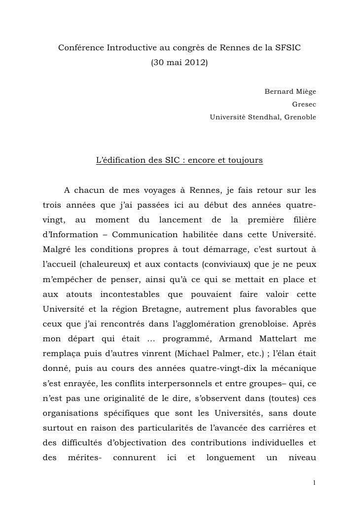Conférence Introductive au congrès de Rennes de la SFSIC                              (30 mai 2012)                       ...