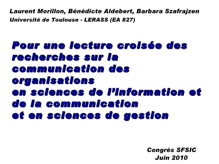 Pour une lecture croisée des recherches sur la communication des organisations  en sciences de l'information et de la comm...
