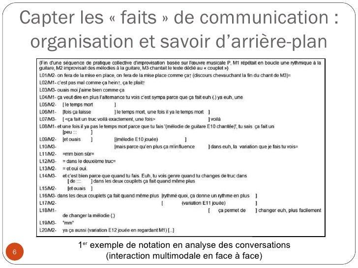 Capter les «faits» de communication : organisation et savoir d'arrière-plan 1 er  exemple de notation en analyse des con...
