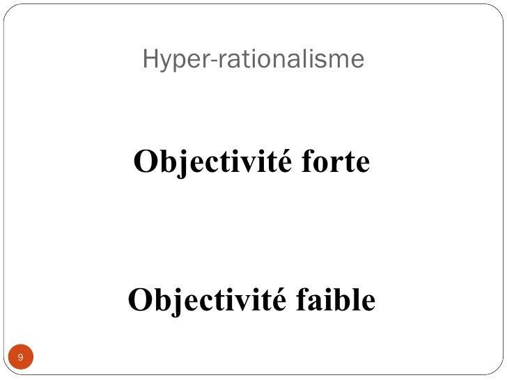 Hyper-rationalisme Objectivité forte Objectivité faible