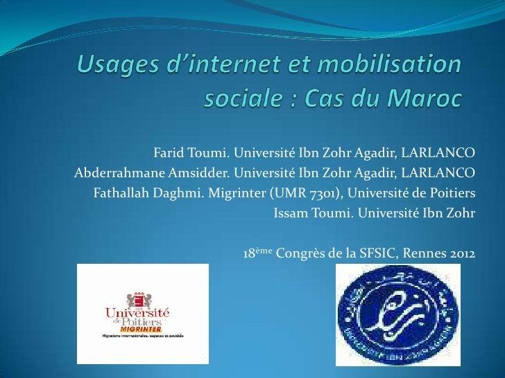 Farid Toumi. Université Ibn Zohr Agadir, LARLANCOAbderrahmane Amsidder. Université Ibn Zohr Agadir, LARLANCO  Fathallah Da...