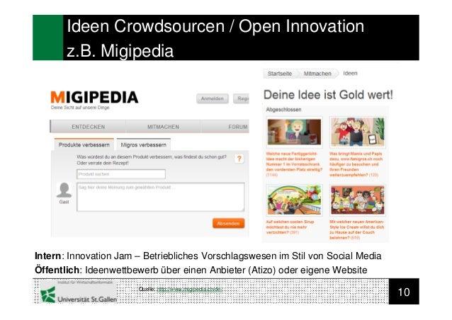 10Ideen Crowdsourcen / Open Innovationz.B. MigipediaIntern: Innovation Jam – Betriebliches Vorschlagswesen im Stil von Soc...