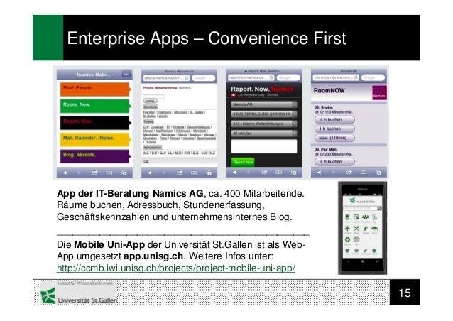 15Enterprise Apps – Convenience FirstApp der IT-Beratung Namics AG, ca. 400 Mitarbeitende.Räume buchen, Adressbuch, Stunde...